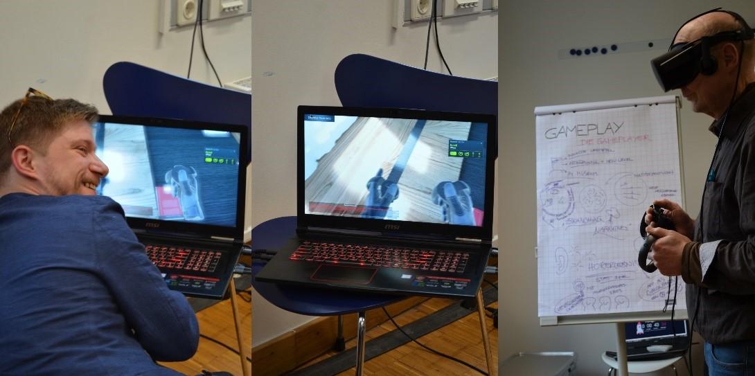 NMsee Workshop Teilnehmer testen die Game App