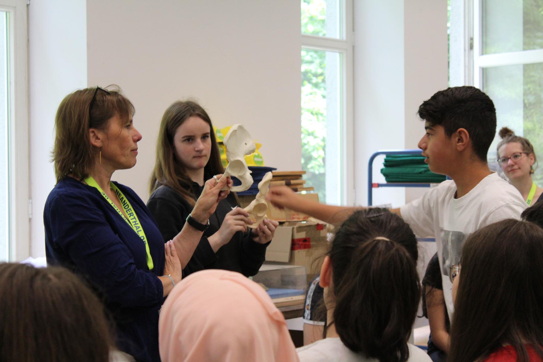 Schüler und Pädagogin untersuchen Humanfossilien