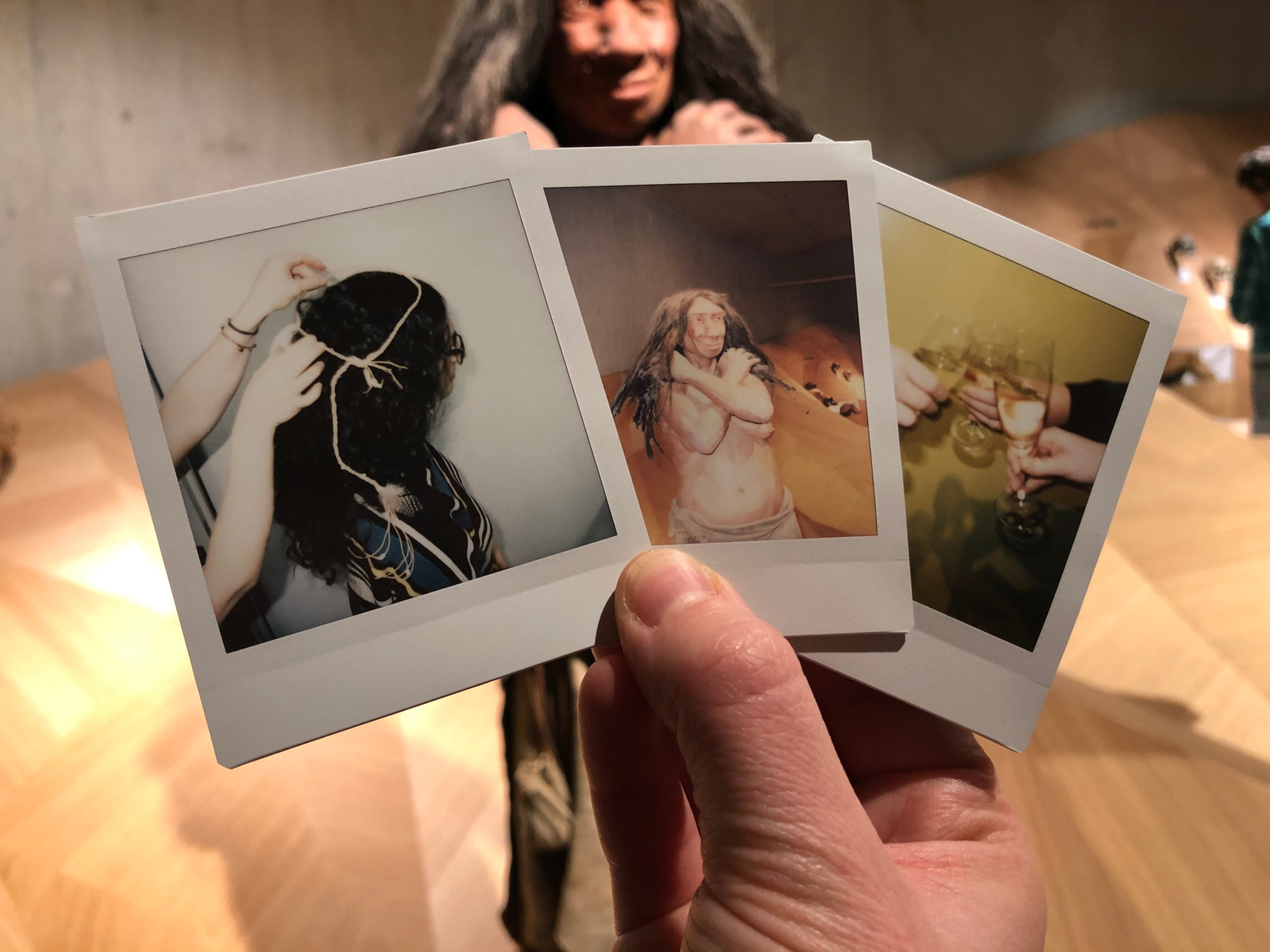 Polaroid Fotos vor Stammbusch im Neanderthal Museum
