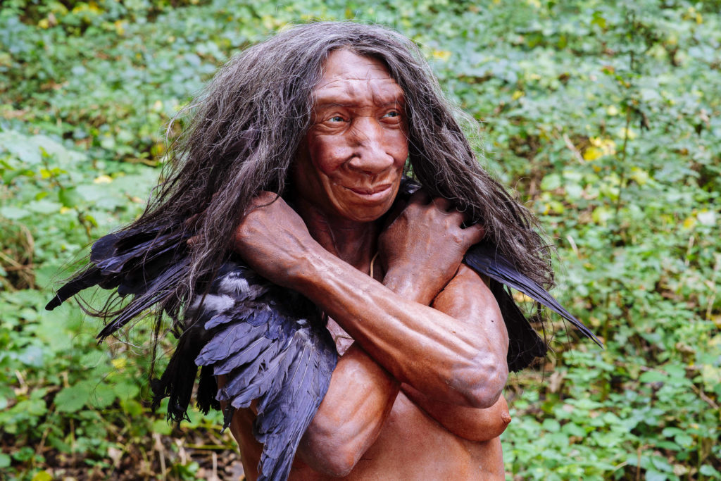 Die Rekonstruktion einer Neanderthalerin im Neanderthal Museum verschränkt ihre Arme und hält einige Krähenfedern in der Hand. Hier fotografiert im Neanderthal.